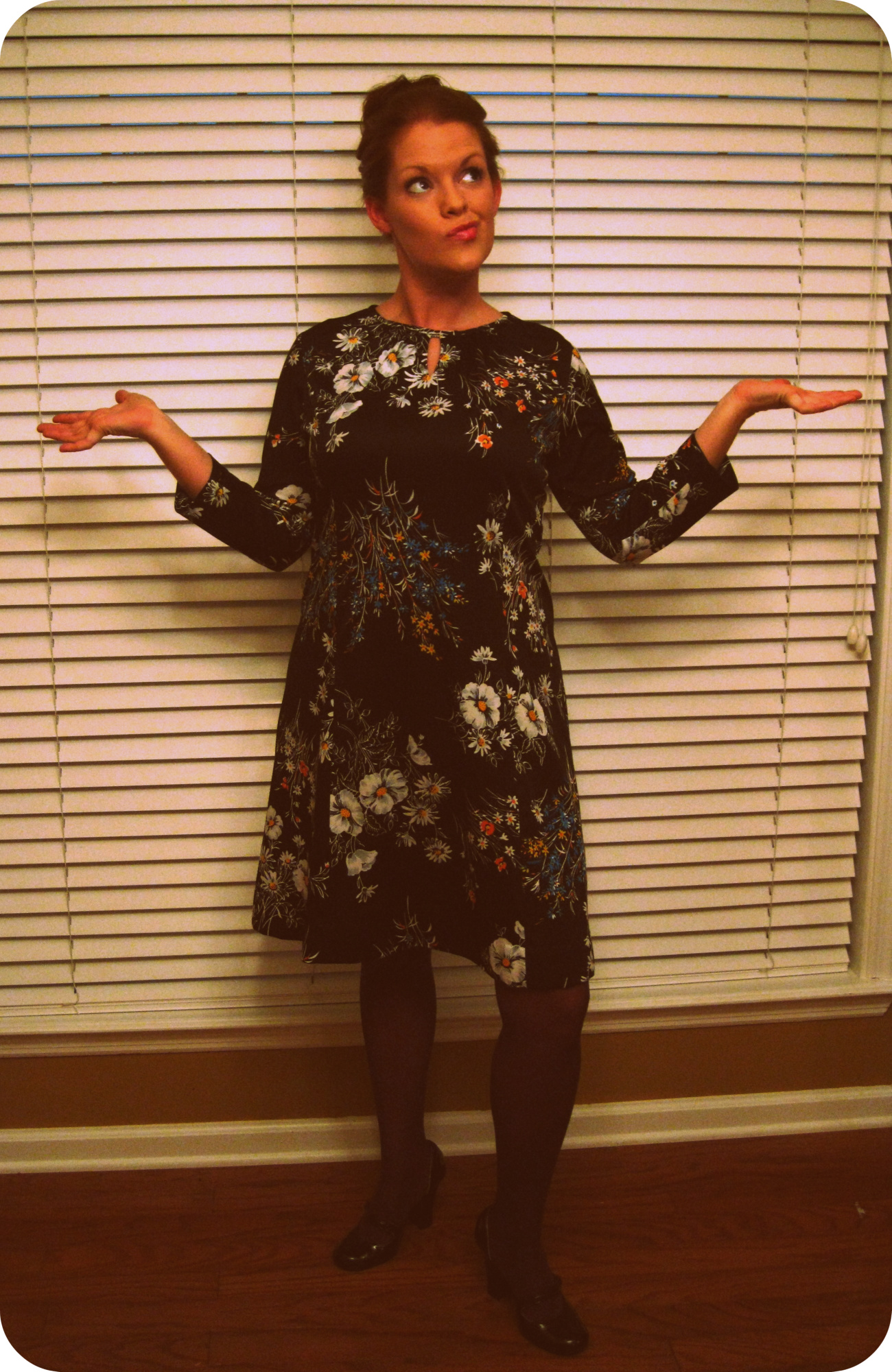 ba828baa6e Here is my Favorite Vintage Dress… I bought it at a thrift store when I was  19!!! I paired it with purple Betsey Johnson tights and Mary Jane Heels  (also ...